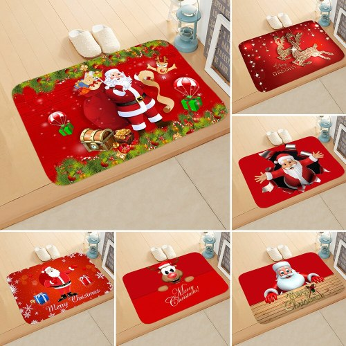 Christmas Flannel Non-slip Carpet Mat Xmas Floor Mat Happy New Year 2021 Merry Christmas 2020 Merry Christmas Decor For Home