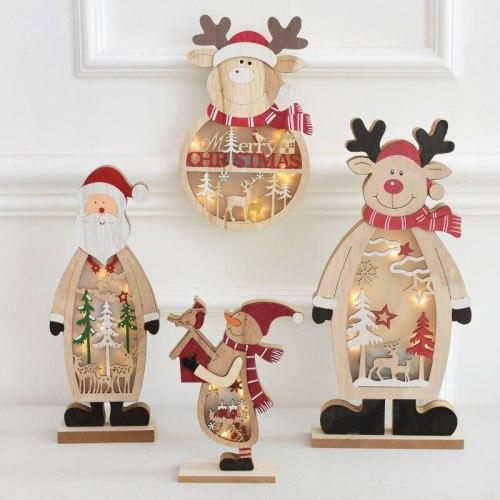 Christmas Wooden Ornament Light Merry Christmas Decorations For Home 2020 Xmas Navidad Noel Santa Claus Elk Happy New Year 2021