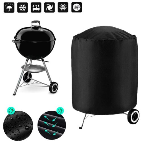 BBQ Cover Dust Waterproof Black Round Grill Cover Rain Protective Outdoor Barbecue Cover BBQ Grill For Webber