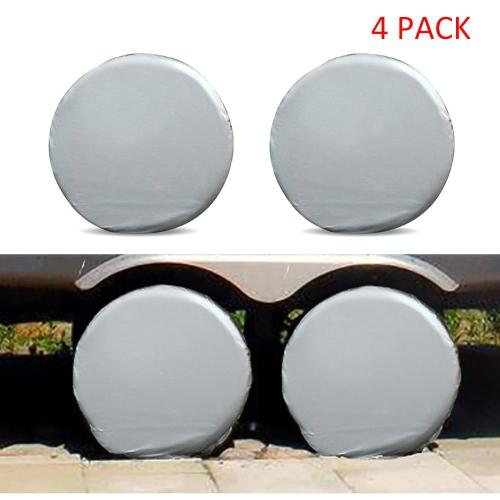 4PCS Universal Auto Wheel Tire Cover Waterproof Dustproof for Camper Motorhome Truck Wheel Covers Sun Protector Aluminum Film