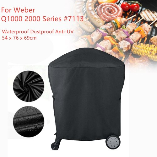 BBQ Rolling Cart Grill Cover 210D for Weber Q1000 Q2000 Series 7113 Waterproof Dustproof Storage Barbeque Grill Cover 54x76x69cm