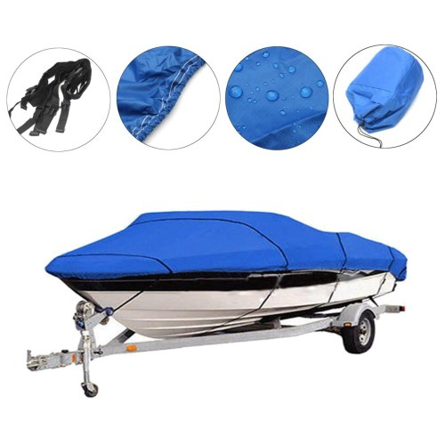 Heavy Duty Fishing Ski Boat Cover For 11-13' 14-16' 17-19' 20-22' V-Hull Waterproof  Sunproof UV Protector Boat Mooring Cover