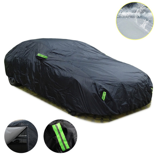 Universal SUV/Sedan Full Car Covers Outdoor Waterproof Sun Rain Snow Protection UV Car Zipper Design Black Car Case Cover S-XXL