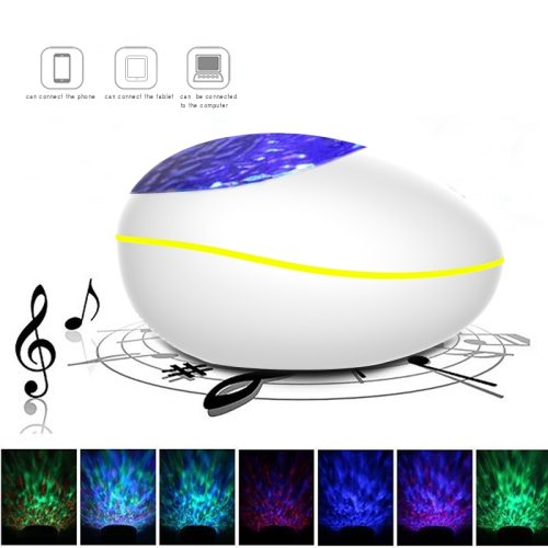 Lucky Stone Ocean Wave Projector Night Light Lamp Bluetooth Music Player Remote Control Water Wave Color Led Projector For Baby