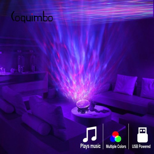 Ocean Wave Projector LED Night Light Built In Music Player Remote Control 7 Light Cosmos Star Luminaria For kid Bedroom