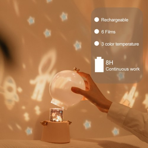 Starry Sky Projector Night Light Music Box Angle LED Lamp Chargeable Rotate Universe Ocaen Colorful Flashing Star Kids Baby Gift
