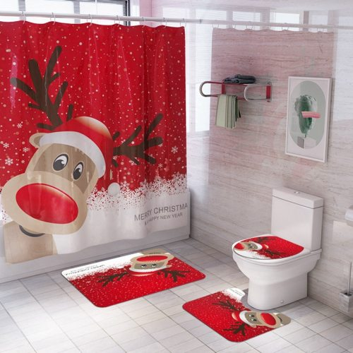 Christmas Bathroom Toilet Mat Navidad 2020 Merry Christmas Decor for Home Noel Cristmas Ornaments Xmas Gifts New Year 2021