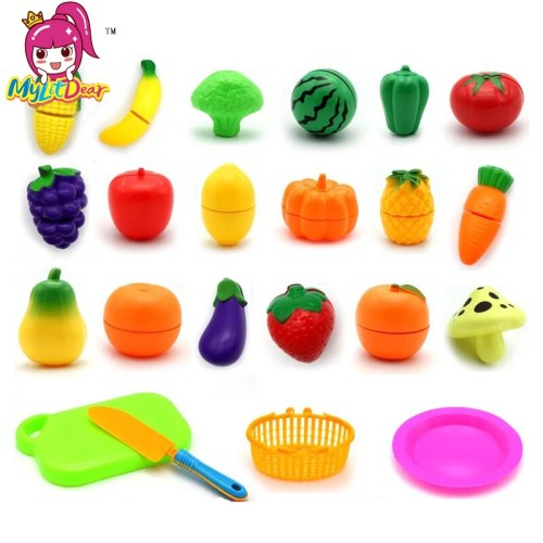 Plastic Kitchen Food Fruit Vegetable Cutting Kids Pretend Play Educational Toy Safety Children Kitchen Toys Sets Gift