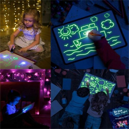 Magic Luminous Drawing Board Kids Toy Tablet Draw In Dark With Fluorescent Pen Russian Light Up Educational Toys For Children