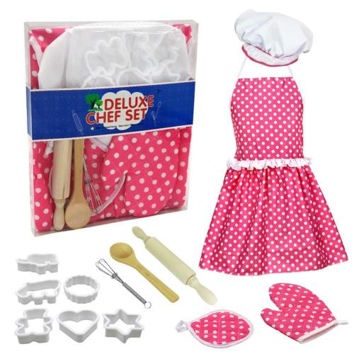 Complete Kids Cooking Baking Toy Set Role Plays Kitchen Utensils Baking Tools Cake Apron For Girls Kids Birthday Gifts