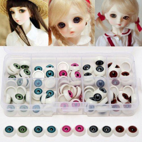 100pcs/Box 12mm Doll Eyeballs Half Round Acrylic Eyes for DIY Dolls Bear Crafts Mix Color Plastic Dolls Parts