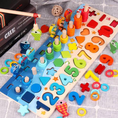 3D Preschool children educational toys wooden Montessori arithmetic magnetic fishing digital shape matching building block toys