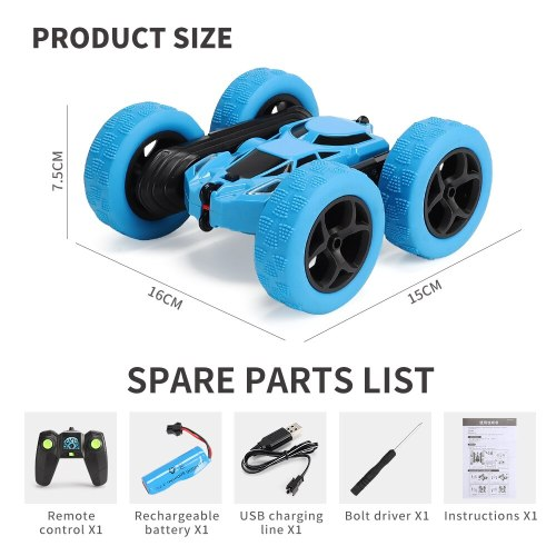 1/28 RC Stunt Car 360 ° Double-Sided Flip High-Speed Rotating Toy Car Cool Headlight Non-Slip Tire Children Gift Toy Car