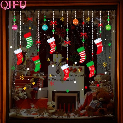 Decoration Christmas Wall Sticker Christmas Decorations For Home Xmas Window Sticker Christmas Glass Wall Stickers Window