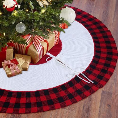 Christmas Knitted Tree Skirt Christmas Tree Decor Rugs for Modern Living Room Merry Christmas Decor for Home Happy New Year 2021