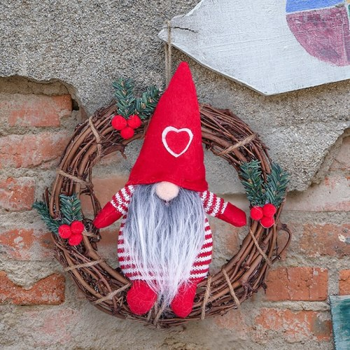 Christmas Doll Wreath 2020 Merry Christmas Decor for Home Xmas Tree Door Decor Cristmas Ornaments Navidad Noel New Year