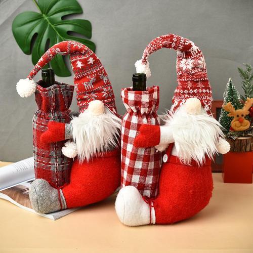 QIFU Christmas Doll Wine Bottle Cover Merry Christmas Decor for Home 2020 Navidad Christmas Ornaments Xmas Gifts New Year 2021