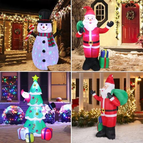 Christmas Inflatable Santa Claus Light Merry Christmas Decor for Home Navidad 2020 Christmas Ornaments Xmas Gifts New Year