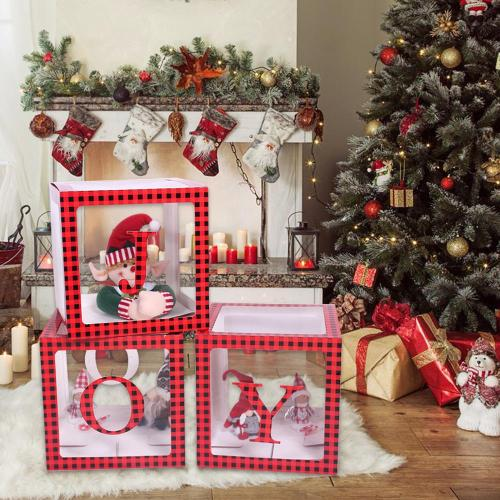 Letter Transparent Box Merry Christmas Decor for Home 2020 Navidad Noel Christmas Ornaments Xmas Gifts Happy New Year 2021