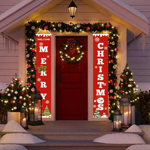 Porch Sign Merry Christmas Decorations For Home Outdoor Christmas Decoration Door Christmas Banner Wall Hangings Xmas Decor
