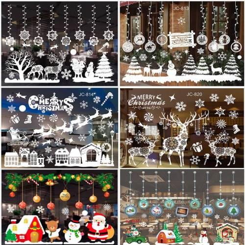 Merry Christmas Wall Stickers Window Glass Stickers Christmas Decorations For Home 2020 Christmas Ornaments Xmas New Year 2021