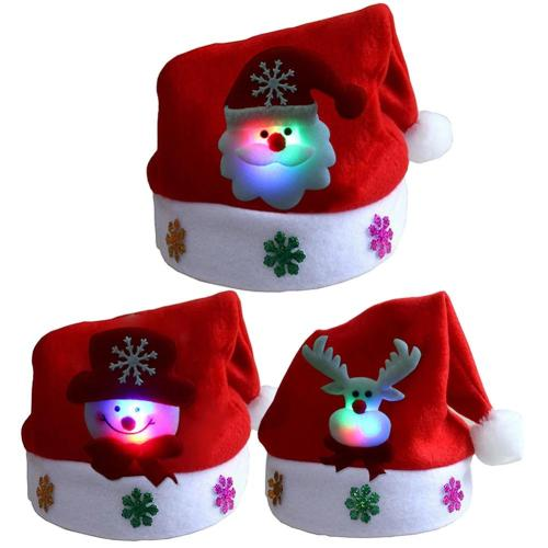 New Merry Christmas Adult Kid LED Light Up Cap Santa Claus Snowman Elk Children Hat Xmas Gift