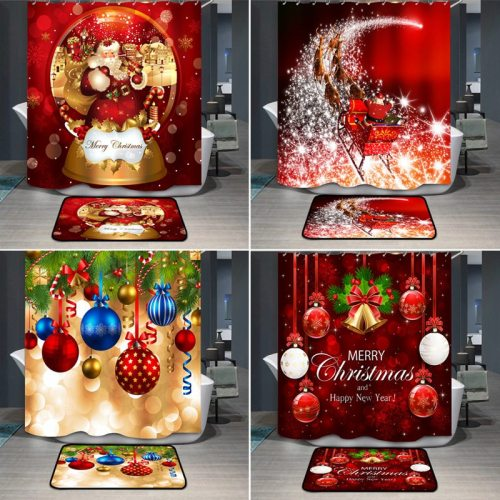 Christmas Shower Curtains Waterproof Polyester Shower Curtain Custom Design Printed Shower Curtains Bathroom Bathroom Products
