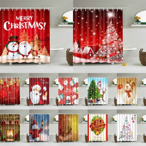 Christmas Printed Shower Curtain Bath Screen For The Bathroom Waterproof Polyester Fabric Bath Curtains Home Decoration