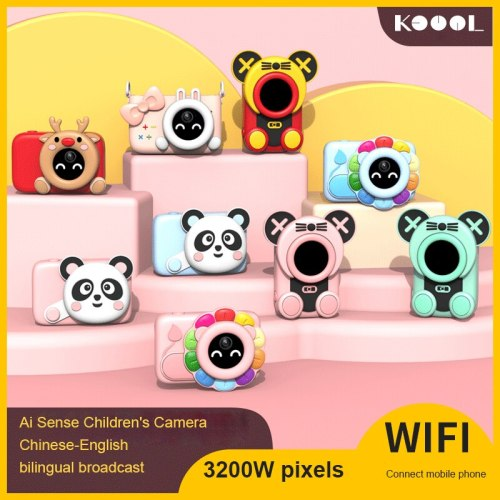 AI SLR Children's Camera Science And Education Sports Digital Camera Xmas Gift WiFi Digital Camera Toys For Children Baby Gifts