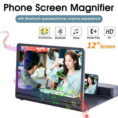 12''Screen Cell Phone Screen Magnifier Wireless Plug-in Bluetooth Speaker 3D Screen Phone Amplifier Compate for All Smart Phone