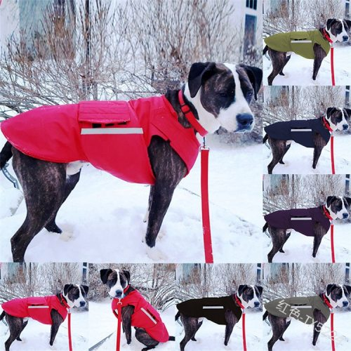 Pet Clothing Imitation Silk Cotton Thickened Adjustable Patch Warmth Reflective Dog Jacket Coat
