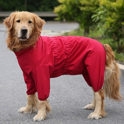 Dog Raincoat Hooded Waterproof Jumpsuit For Large Dogs Outdoor Pet Poncho Puppy Coveralls Red WLYANG