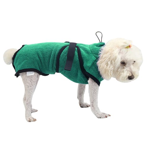 Green Pet Dog Cat Bathrobe Soft Quickly Absorbing Water Fiber Pet Drying Towel Robe With Hat Pupuy Cat Pet Grooming Supplies