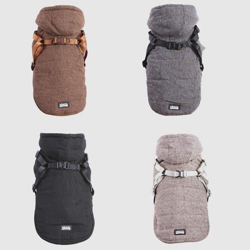 2020 New Harness Winter Pet Warm Clothes Plus Velvet Thickening Soft and Breathable Adjustable Buckle Jacket Small Medium Dog