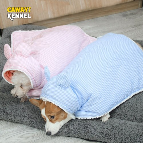 Kennel Autumn Winter Keep Warm Pet Dog Nightgown Thick Flannel Cute Lattice Cotton Cloak for Cats Dogs Coats Jackets