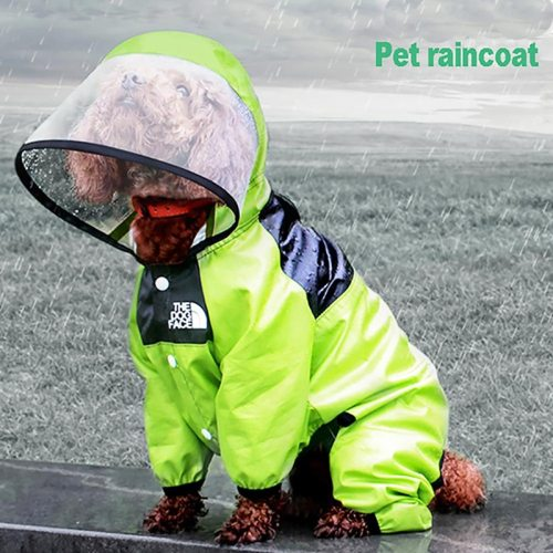 Pet Dog Raincoat Waterproof Detachable Rain Jacket Dogs Water Resistant Clothes Dogs Fashion Patterns Coat For Rainy Day