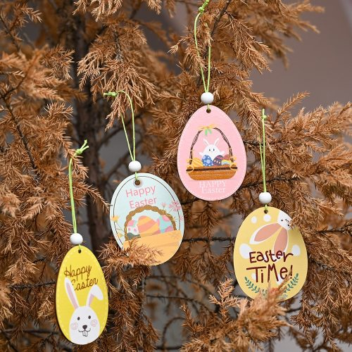 2pcs Happy Easter Decor for Home DIY Bunny Easter Eggs Rabbit Chick Wooden Ornaments Easter Party Supplies Easter Gifts for Kids