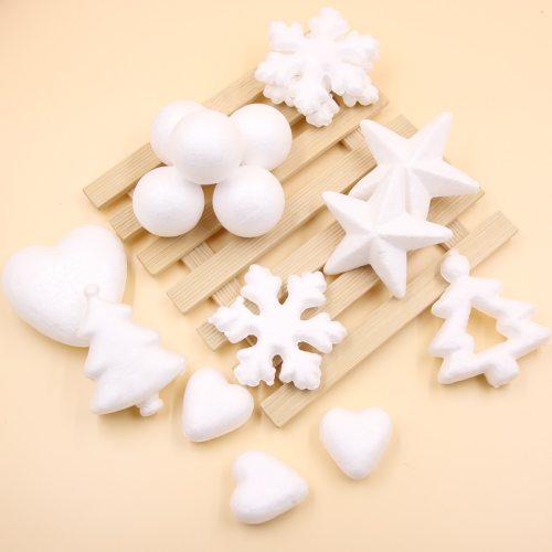 Multi Style DIY White Heart&Snowflakes Ornaments Modelling Polystyrene Styrofoam Foam Ball Wedding/Christmas Party Decorations