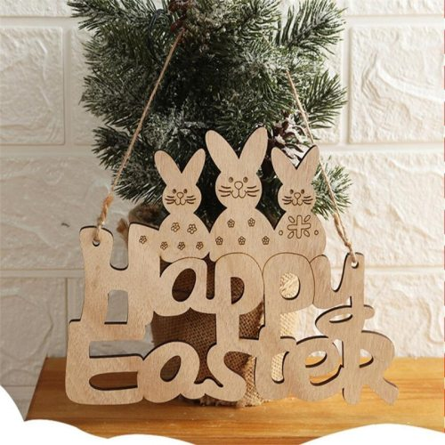 20*15 CM Happy Easter Rabbit Wooden Decoration DIY Hanging Pendents Craft Bunny Ornaments Party Supplies Wood