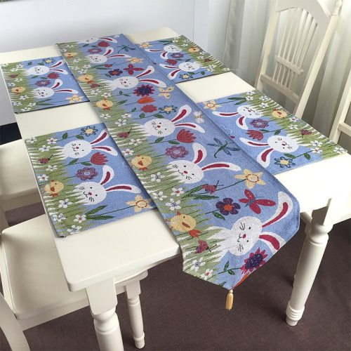 180x33cm Easter Theme Party Table Runner With 4pcs rabbit for free Rabbit Egg Print Easter Party Decor Tablecloth Flag Cover