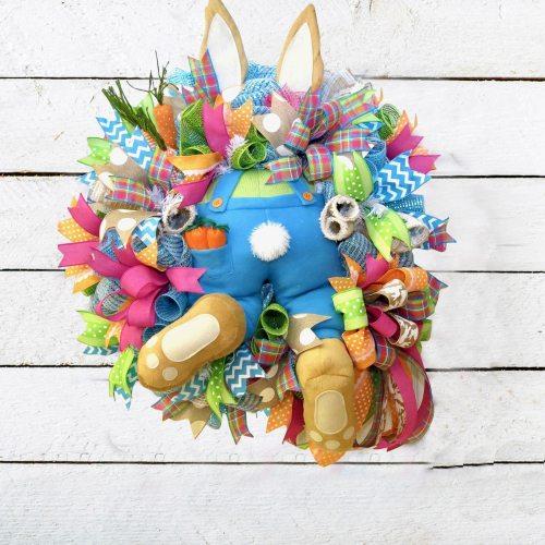 DIY Easter Bunny Decoration Wreath For Window Door Funny Rabbit Cartoon Animal Ornaments DIY Hanging Garland Holiday Home Decor