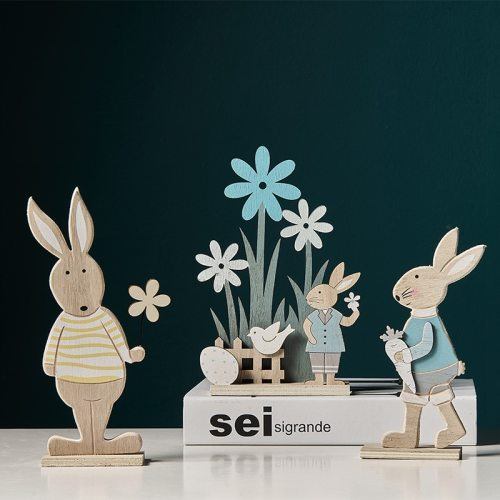 1pc/lot 2021 New Easter Lovely And Creative Wooden Hand Painted Rabbit Children's Room Wall Shelf Ornaments Home Decoration