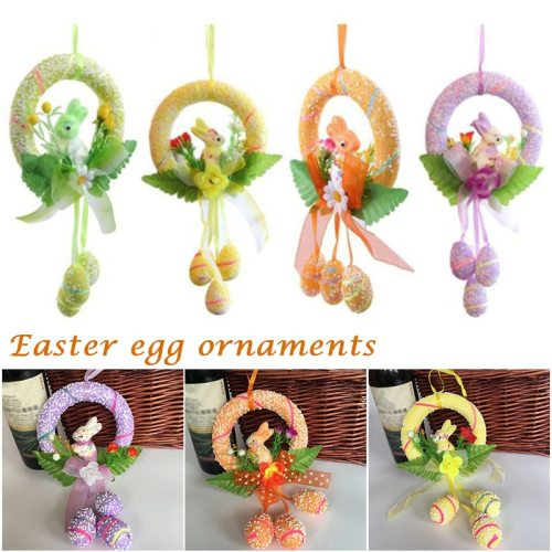 Easter Egg Decorations DIY Round Bunny Ring Egg Crafts For Family Kindergarden Ornaments B88
