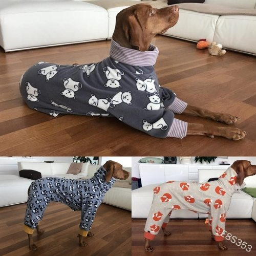 Dog clothes suitable for large dogs Dog warm clothes high collar print soft and comfortable dog clothes