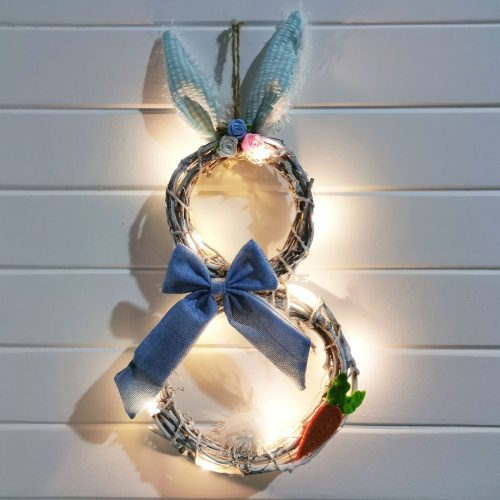 Easter Decorations With Lights Decorating Rattan Circle Wreath Ornaments Garland Wreath Pendant Holiday Home Decorations