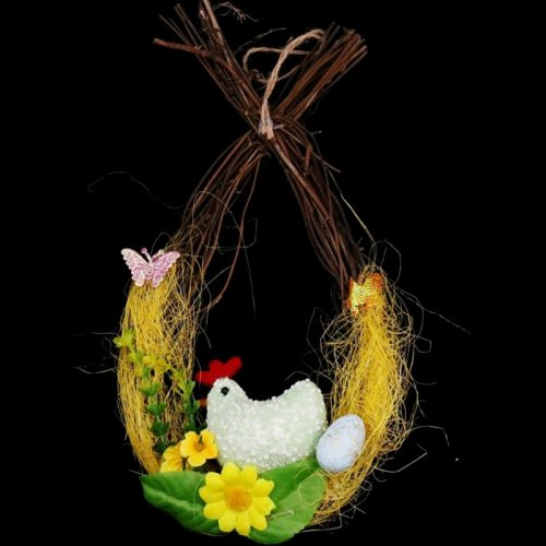 Easter Chicken Laying Egg Door Hanging Pendant Rattan Wreath Home Decorations 91AD