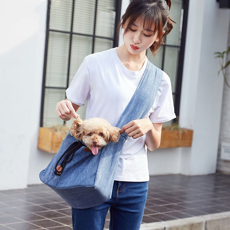 Comfortable Pet Shoulder Bag Fashion Outdoor Crossbody Slings  Breathable Travel Carrier for Puppy Kitten