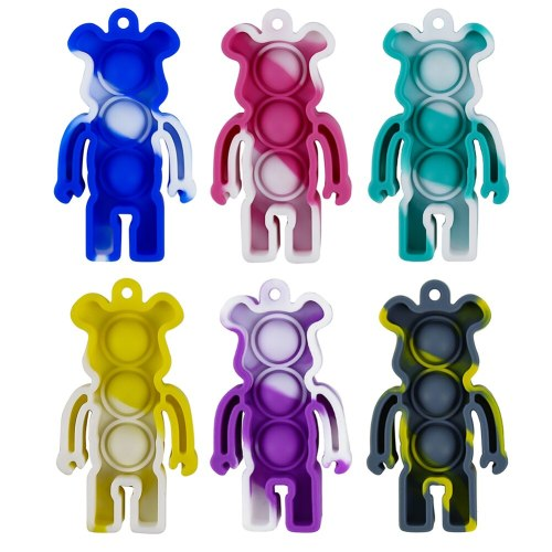 Silicone Bear Mini Push Bubble Sensory Toy Ball Pop-up Key Chain Children Adult Irritability Stress Relief Game Toy