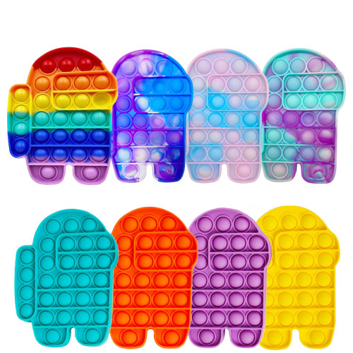 Among Us Push Pops Bubble Sensory Toy Autism Needs Squishy Adult Child Funny Popit Anti-Stress PopIt Fidget Stress Reliver Toys