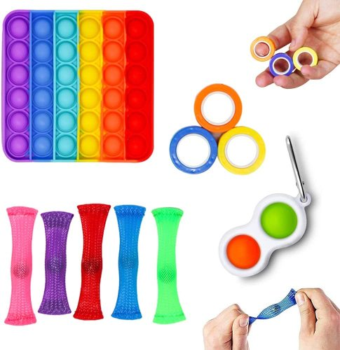 6 Packs Push Pop Bubble Hot Sales Sensory Fidget, Autism Special Needs Stress Relief Silicone Pressure Relieving, Squeeze for Kids Children Adults